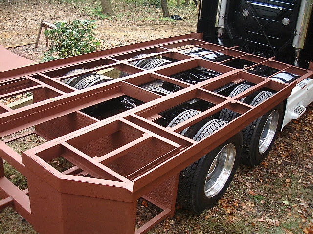 the frame was stripped of the commercial truck tractor components such as the fifth wheel air brake hoses trailer electrical pigtail and catwalk